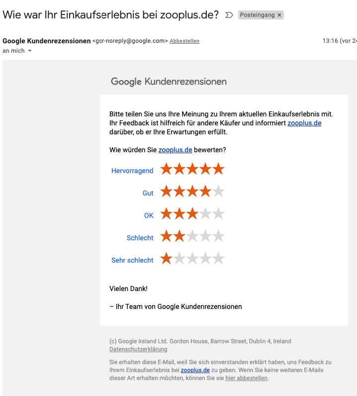 Beispiel einer Bewertungsanfrage von den Google Verkäuferbewertungen