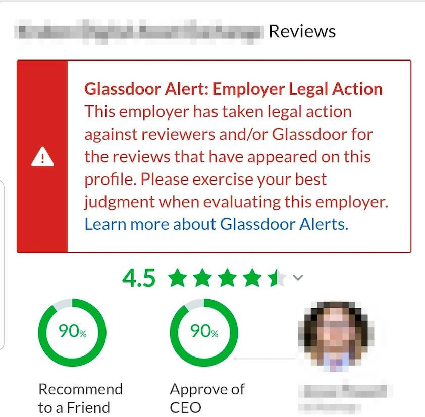 Glassdoor warnt, dass der Arbeitgeber in diesem Fall Bewertende verklagt