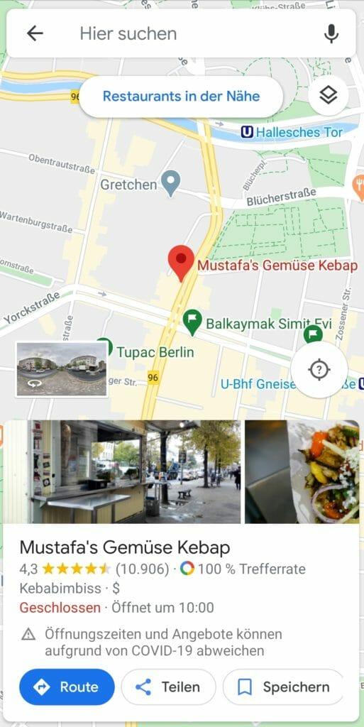 Beispiel von Google Maps